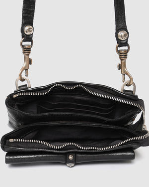 CAMPOMAGGI ALANIS CROSSBODY BAG BLACK LEATHER