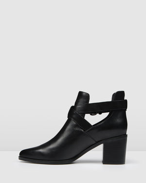 ALIBI MID ANKLE BOOTS BLACK LEATHER