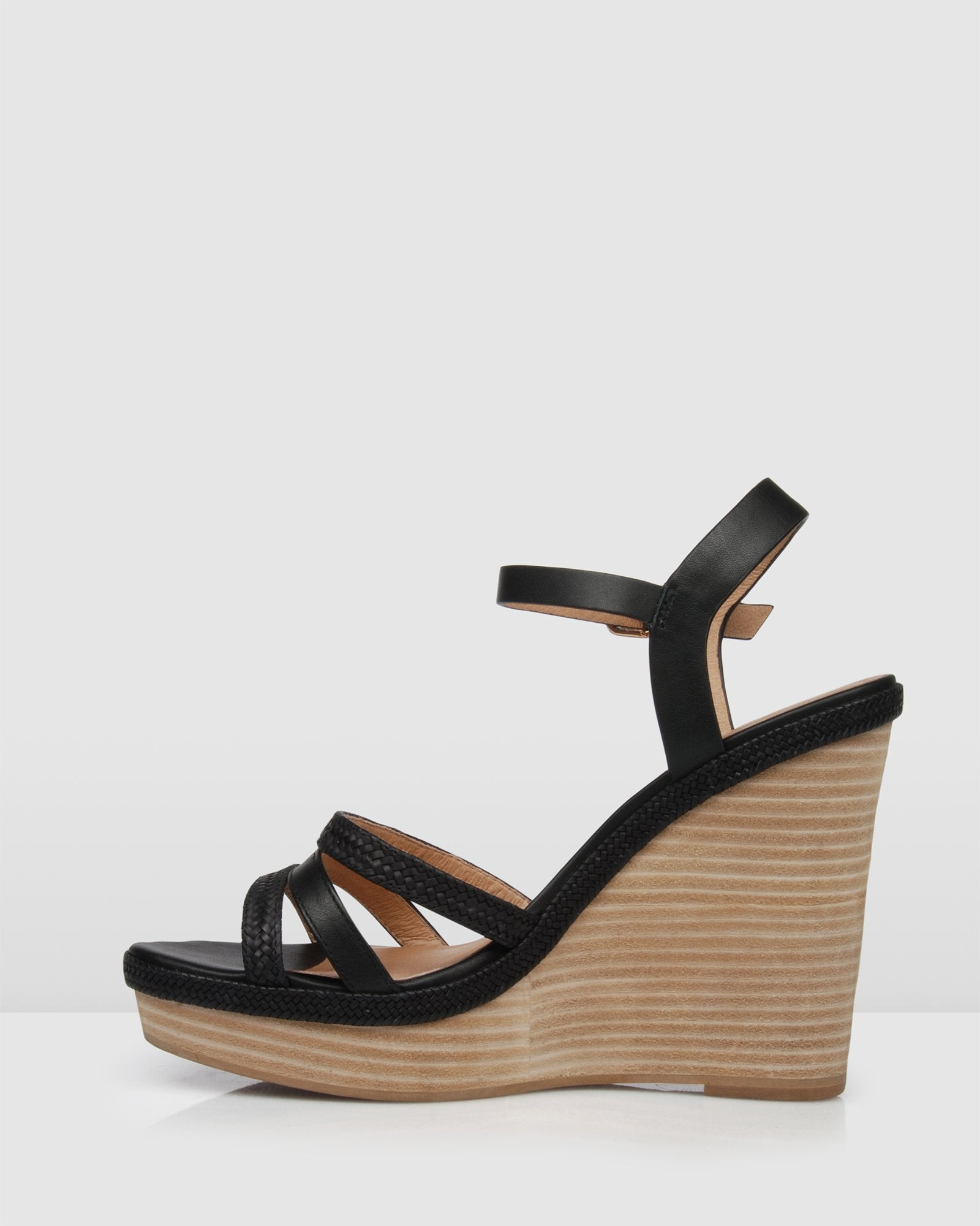 ALLEGRA HIGH HEEL WEDGES BLACK LEATHER