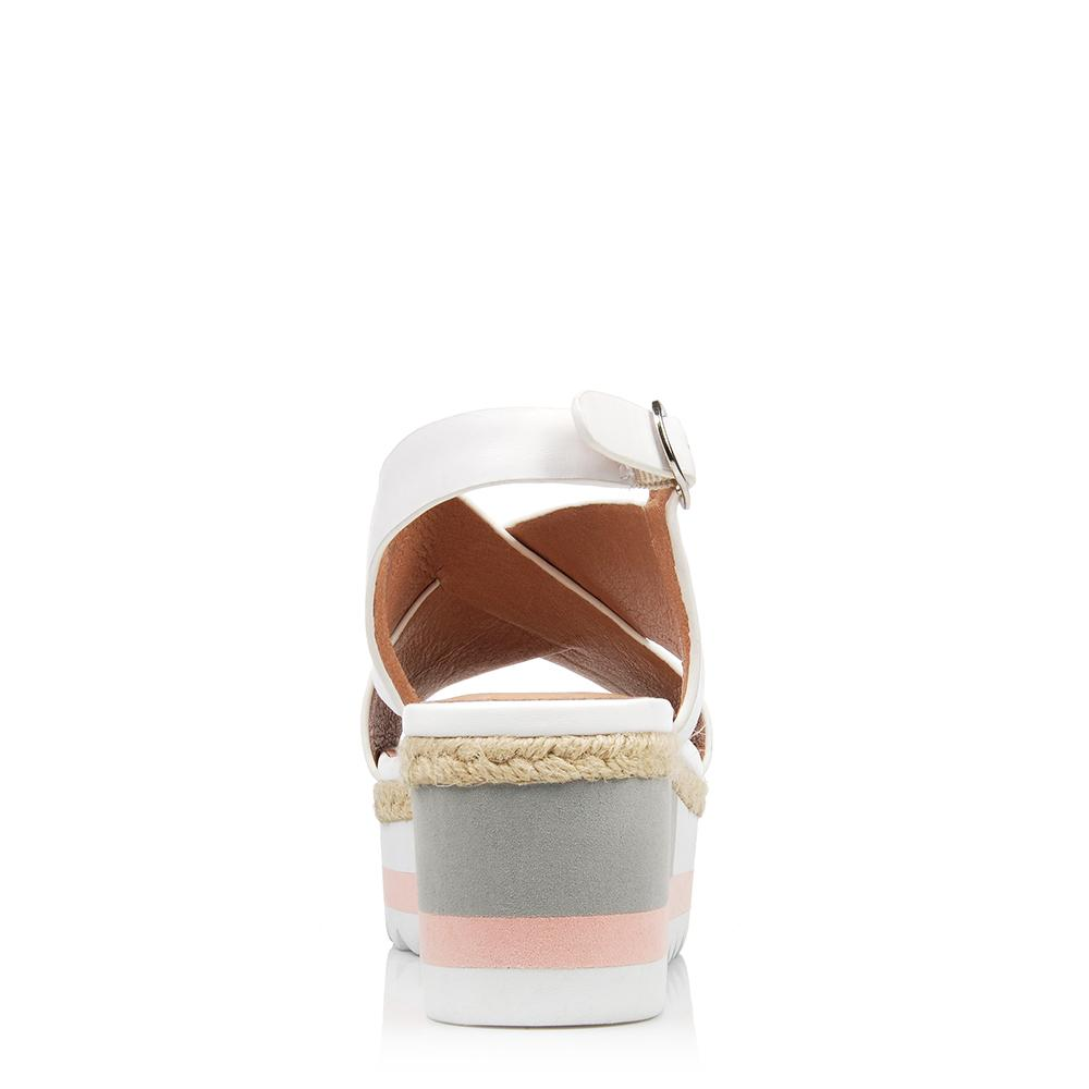 ALLSORTS MID WEDGE SANDALS WHITE LEATHER