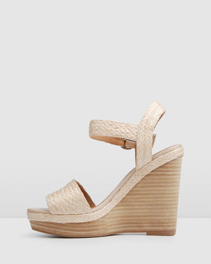 ALLUDE HIGH WEDGE SANDALS BEIGE MULTI