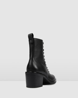 AMITY MID ANKLE BOOTS BLACK LEATHER