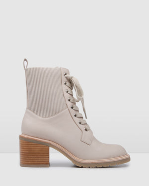 ANNIKA MID ANKLE BOOTS BONE LEATHER