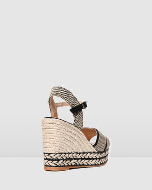 AROS HIGH HEEL WEDGE ESPADRILLES BLACK MULTI