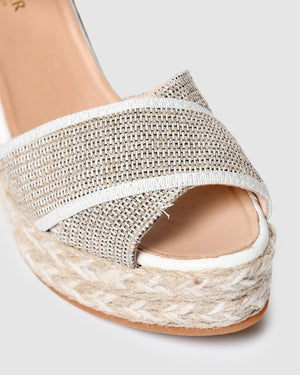 AROS HIGH HEEL WEDGE ESPADRILLES NATURAL MULTI