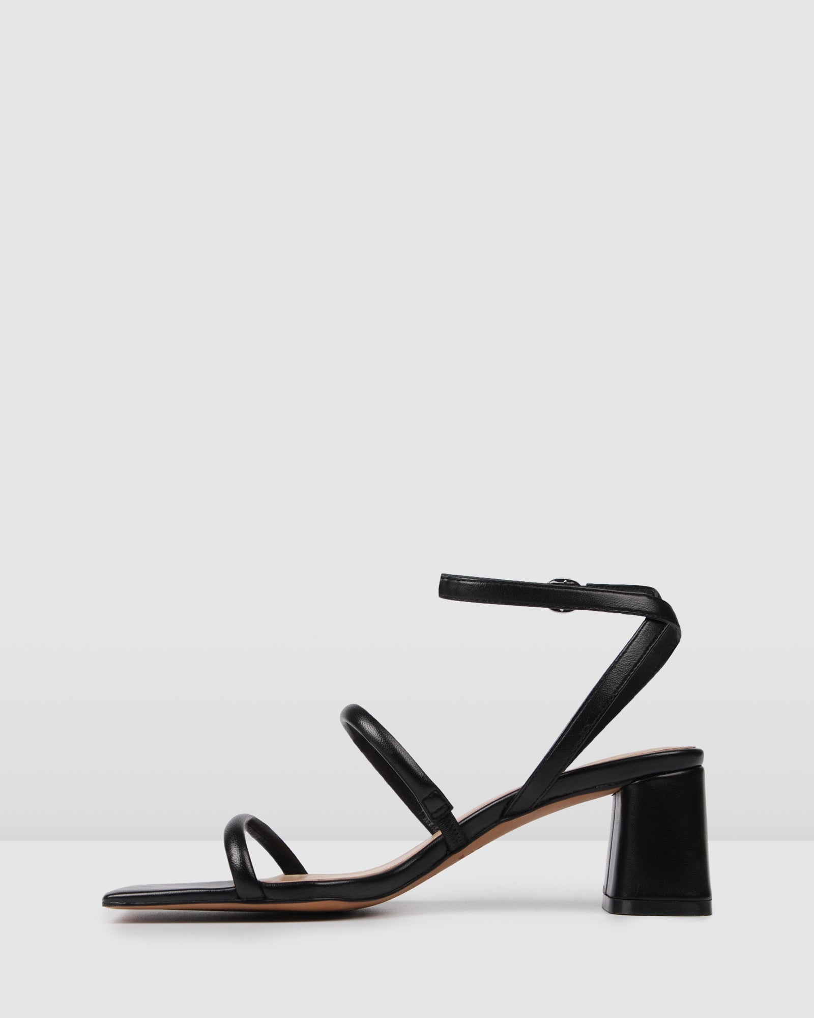 BELLO MID HEEL SANDALS BLACK LEATHER
