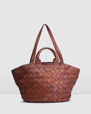 BIBA LEWISBURG TOTE BAG TAN LEATHER