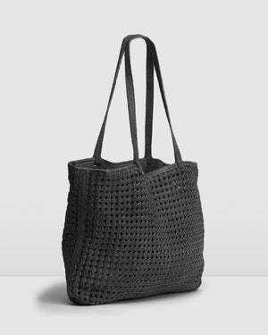 BIBA NIWOT TOTE BAG BLACK LEATHER