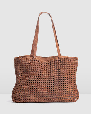 BIBA NIWOT TOTE BAG TAN LEATHER