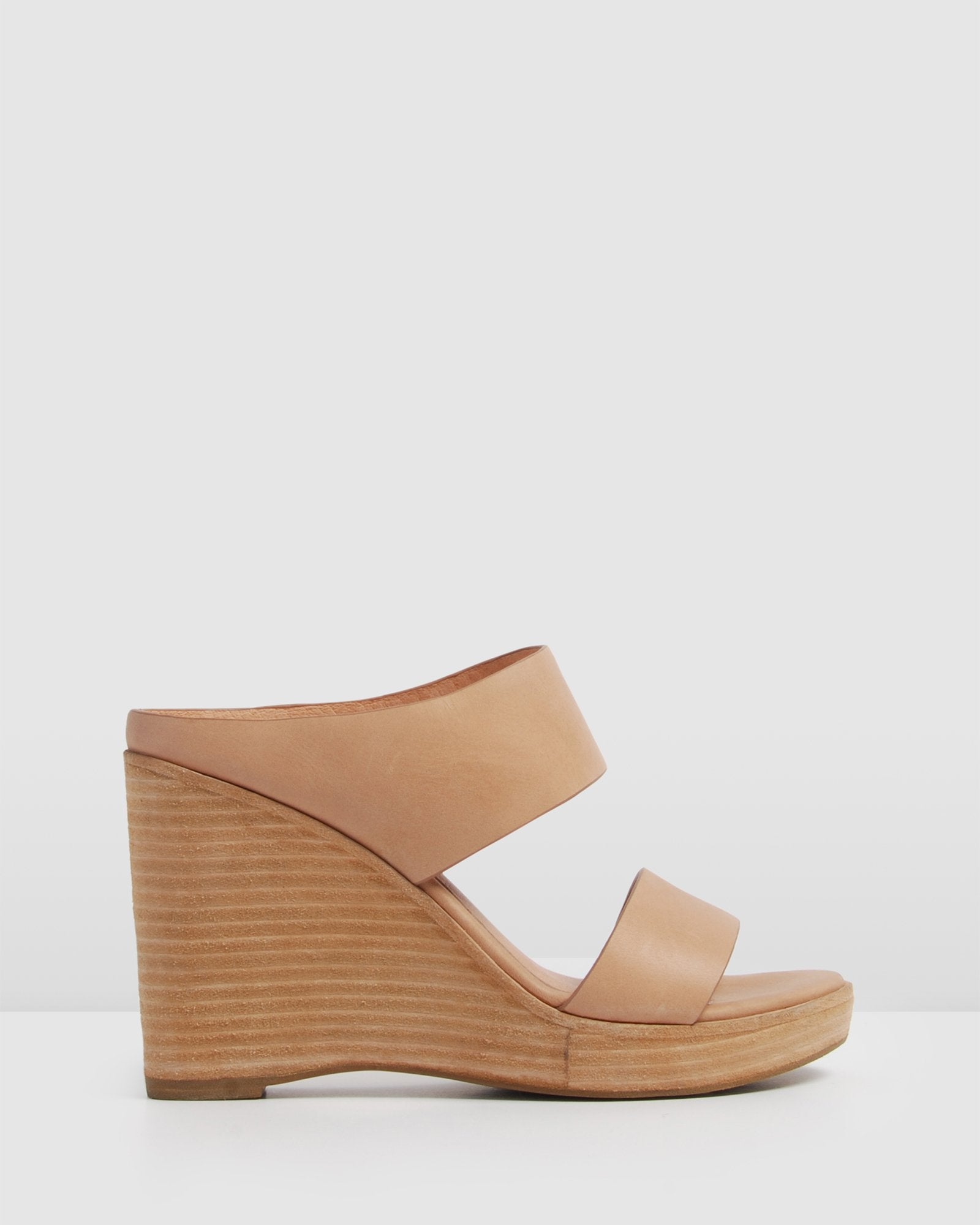 BITE HIGH HEEL WEDGES TAN LEATHER