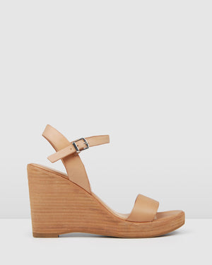 BORA HIGH HEEL WEDGES TAN LEATHER