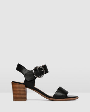 BOWIE MID HEEL SANDALS BLACK LEATHER
