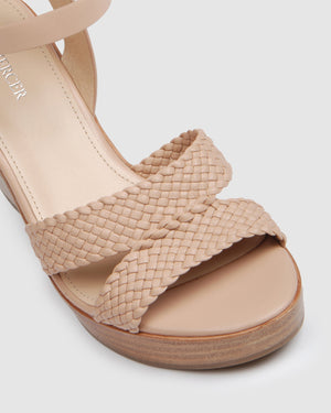 BRIDGET HIGH HEEL WEDGE BLUSH LEATHER