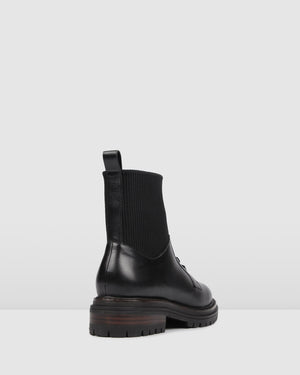 BRIGHT FLAT ANKLE BOOT BLACK LEATHER