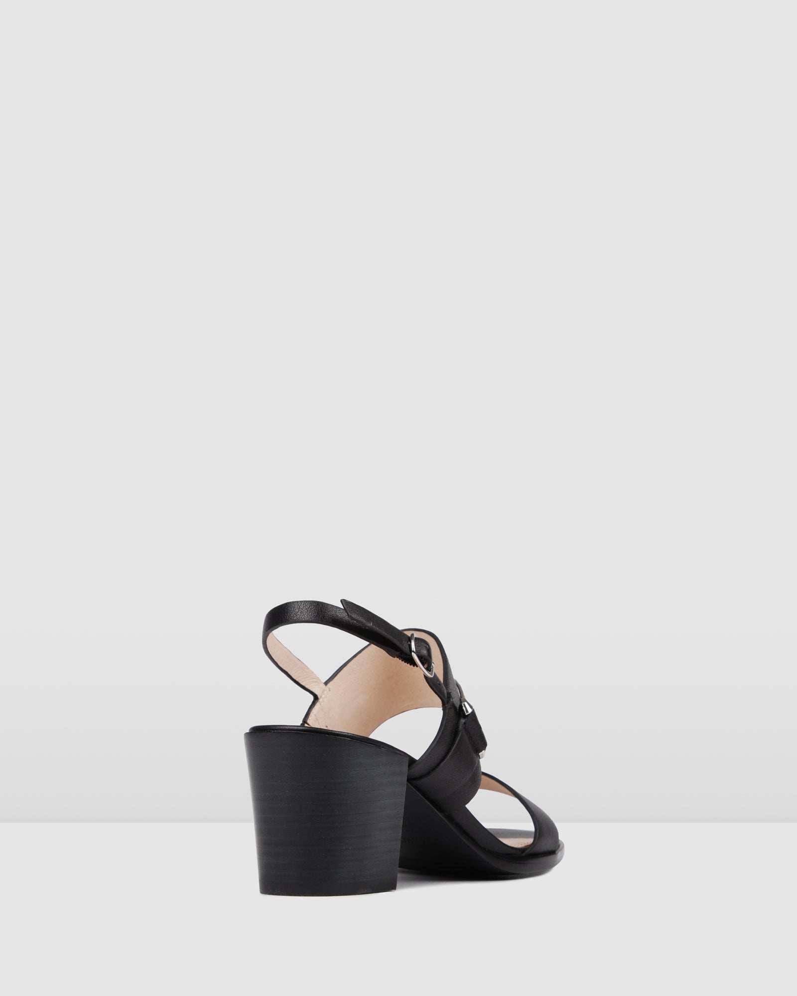 BRYLEE MID HEEL SANDALS BLACK LEATHER