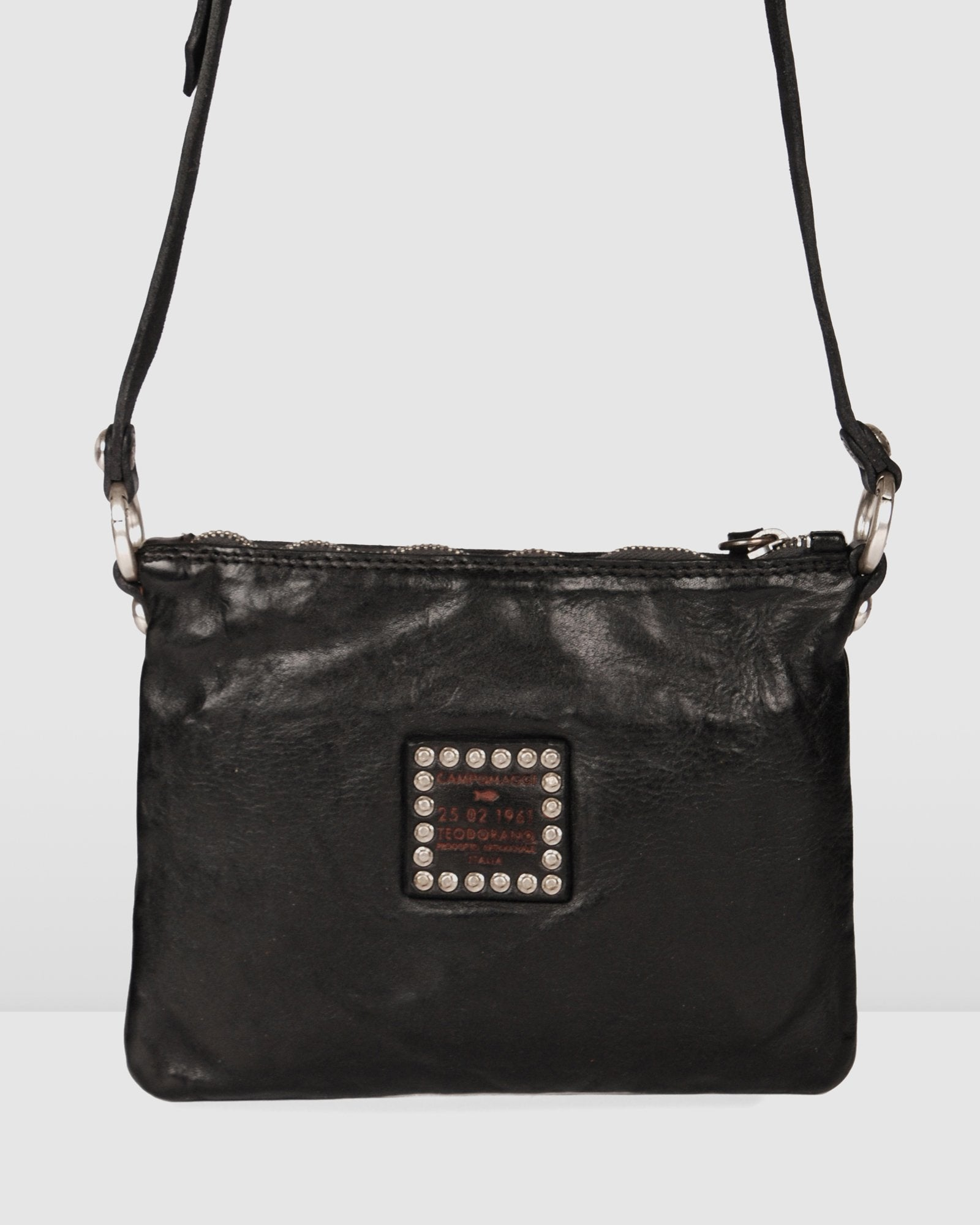 CAMPOMAGGI JOPLIN CROSS BODY BAG BLACK LEATHER
