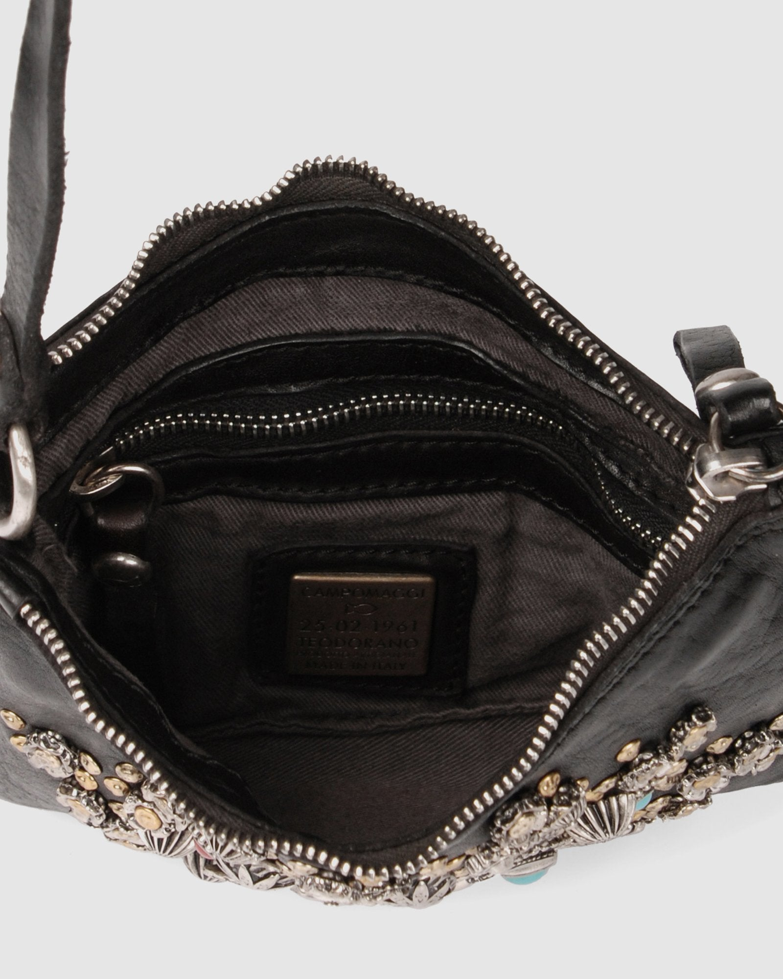 CAMPOMAGGI ROSETTE CROSS BODY BAG BLACK LEATHER