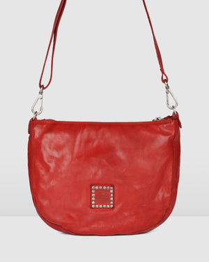 CAMPOMAGGI VERONA LARGE CROSS BODY BAG RED LEATHER