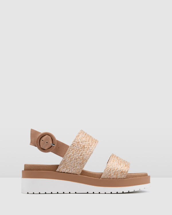 CASA LOW HEEL WEDGES NATURAL RAFFIA