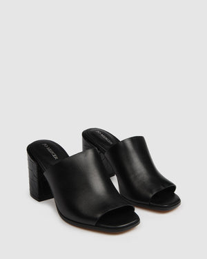 CODA HIGH HEEL SANDALS BLACK LEATHER