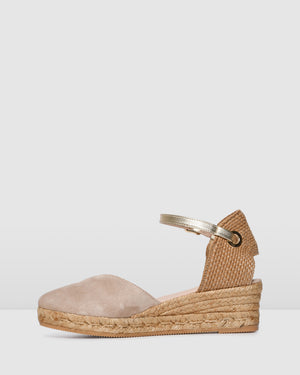 COPA MID HEEL WEDGE ESPADRILLES LIGHT TAUPE SUEDE