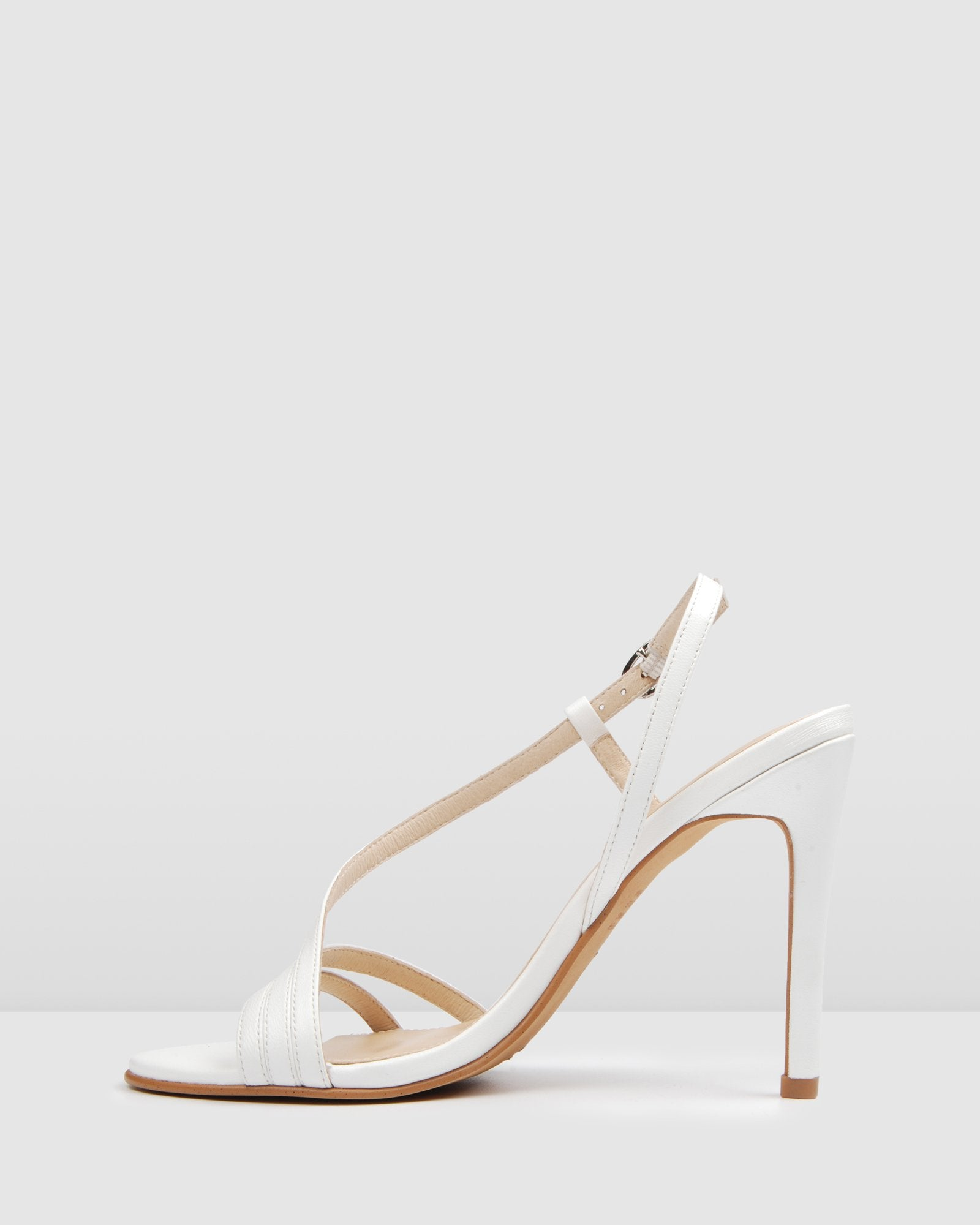 DONNA HIGH HEEL SANDALS WHITE LEATHER