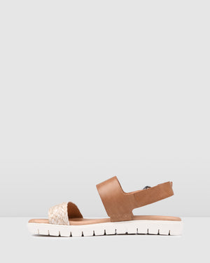 ENCORE FLAT SANDALS TAN MULTI