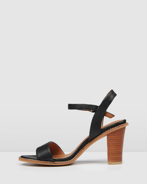 ERASMUS HIGH HEEL SANDALS BLACK LEATHER