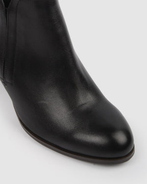 FALLON MID ANKLE BOOTS BLACK LEATHER