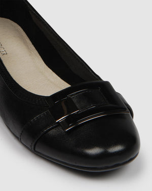 FAROE BALLET FLATS BLACK LEATHER