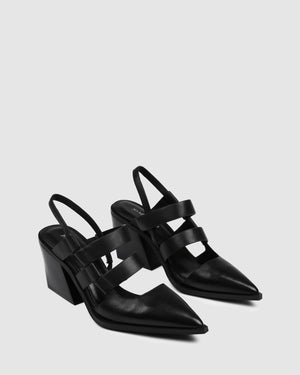 FLAME MID HEELS BLACK LEATHER