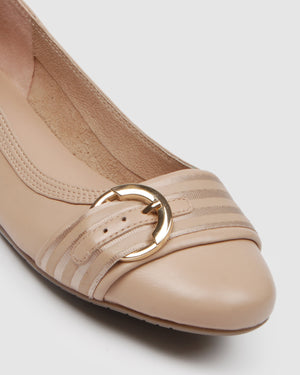FLOW BALLET FLATS NUDE LEATHER