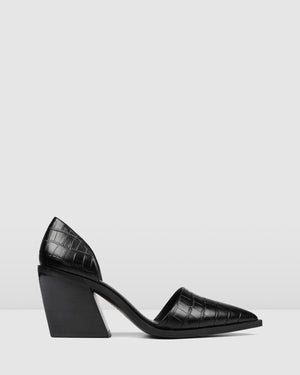 FREEZE MID HEELS BLACK CROC