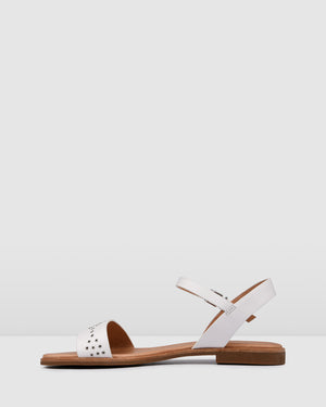 GABRIELLA FLAT SANDALS WHITE LEATHER