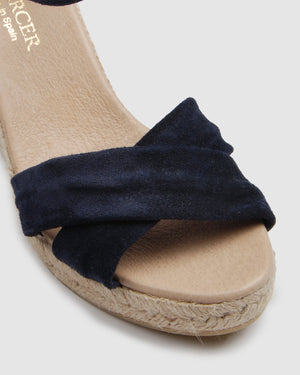 GARNET HIGH HEEL WEDGE ESPADRILLES NAVY SUEDE