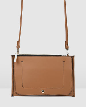 HALLIE CROSS BODY BAG TAN LEATHER