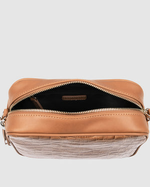 HARTLEY CROSS BODY BAG TAN CROC