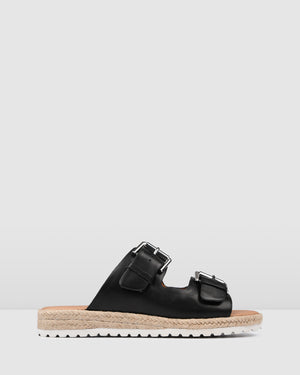 HAZEL FLAT ESPADRILLE SLIDES BLACK LEATHER