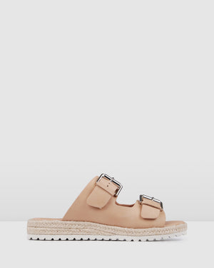 HAZEL FLAT ESPADRILLE SLIDES NATURAL LEATHER