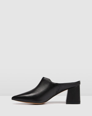 HONOR MID HEELS BLACK LEATHER