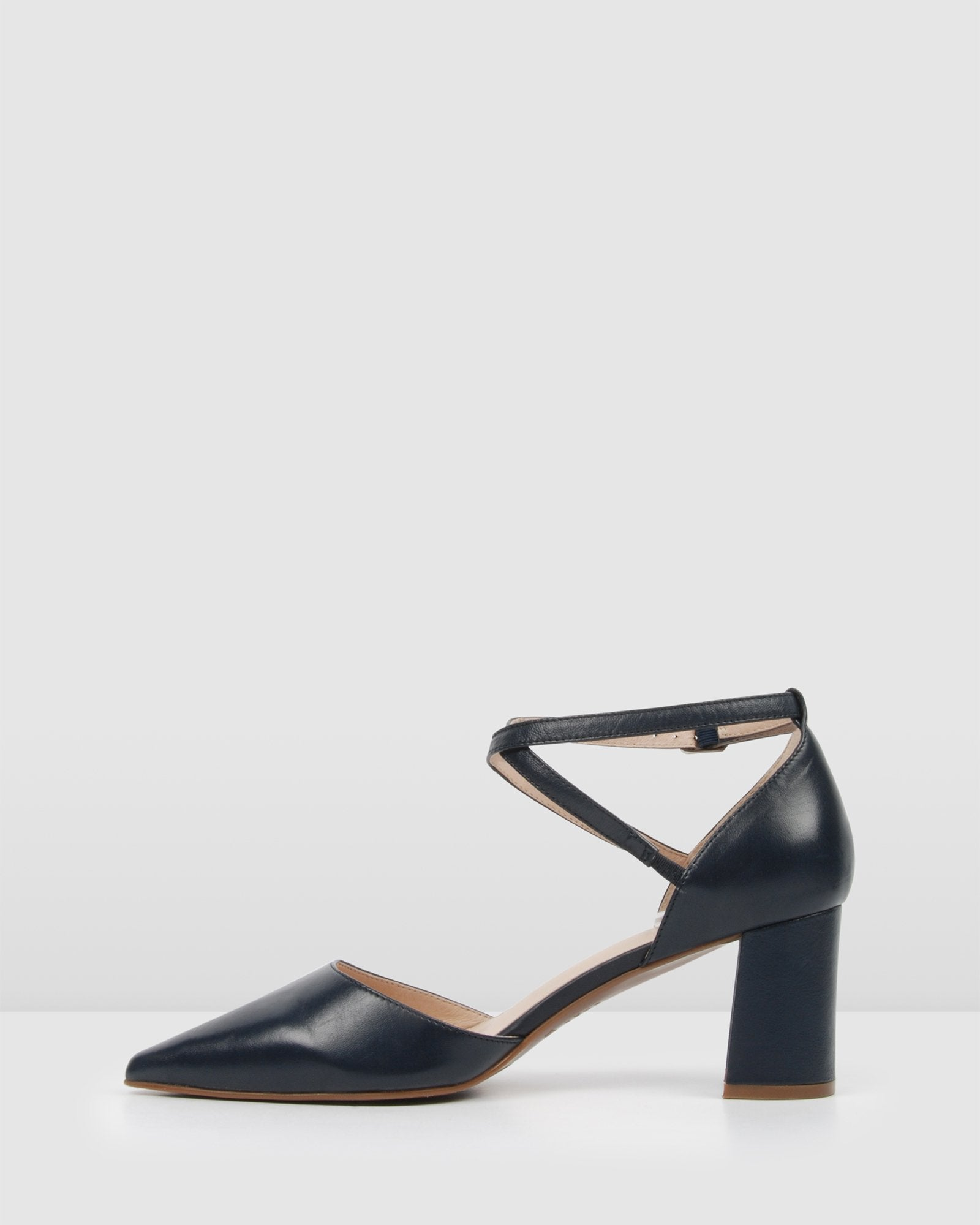 ILUKA MID HEELS NAVY LEATHER