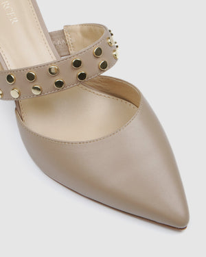 INDRA MID HEELS BEIGE LEATHER