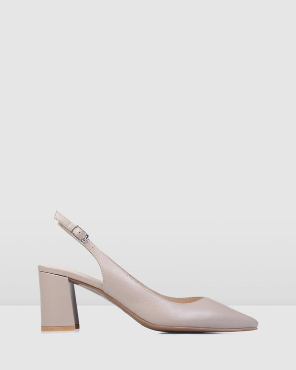 IRIS MID HEELS LIGHT BEIGE LEATHER