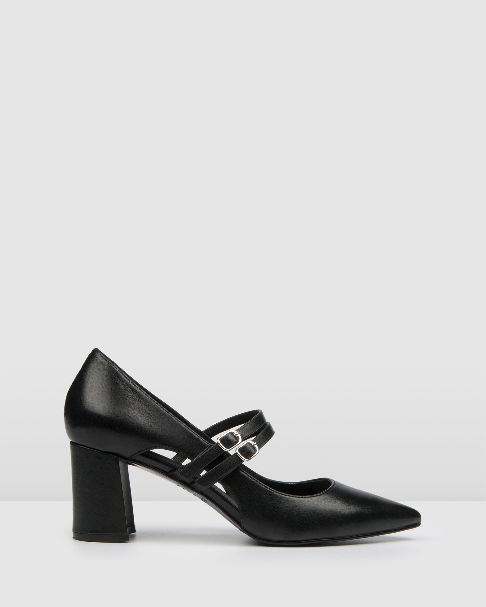 IVY MID HEELS BLACK LEATHER
