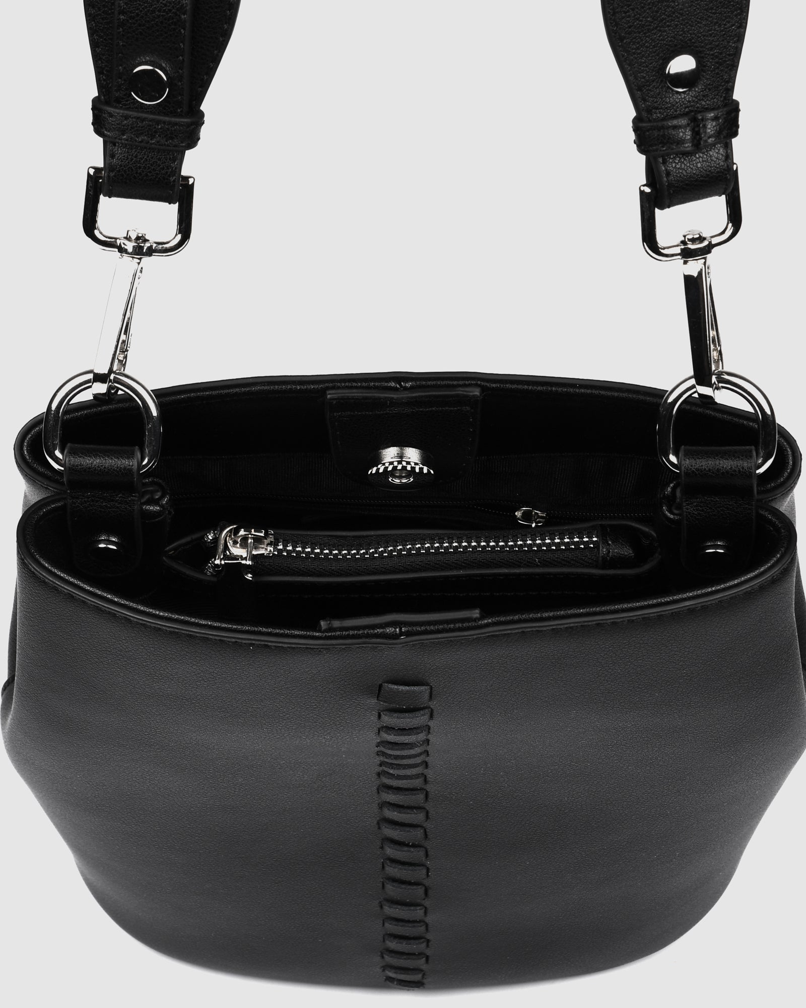 KEATON CROSS BODY BAG BLACK LEATHER