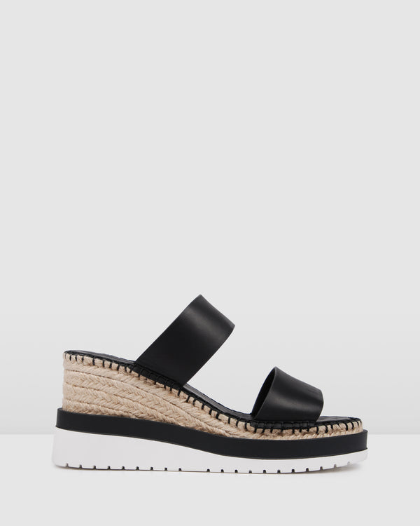 KEEVA MID HEEL WEDGE ESPADRILLES BLACK LEATHER