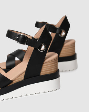 KENDALL MID HEEL WEDGES BLACK LEATHER