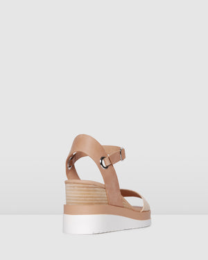 KENZIE MID HEEL WEDGES NATURAL RAFFIA