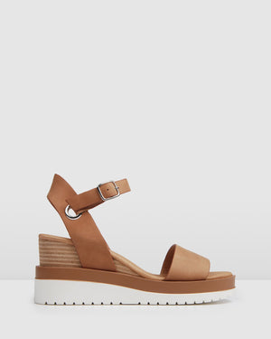 KENZIE MID HEEL WEDGES TAN LEATHER
