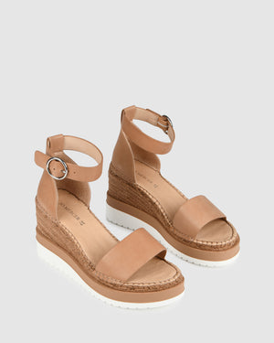 KLUME MID HEEL WEDGE ESPADRILLES TAN LEATHER